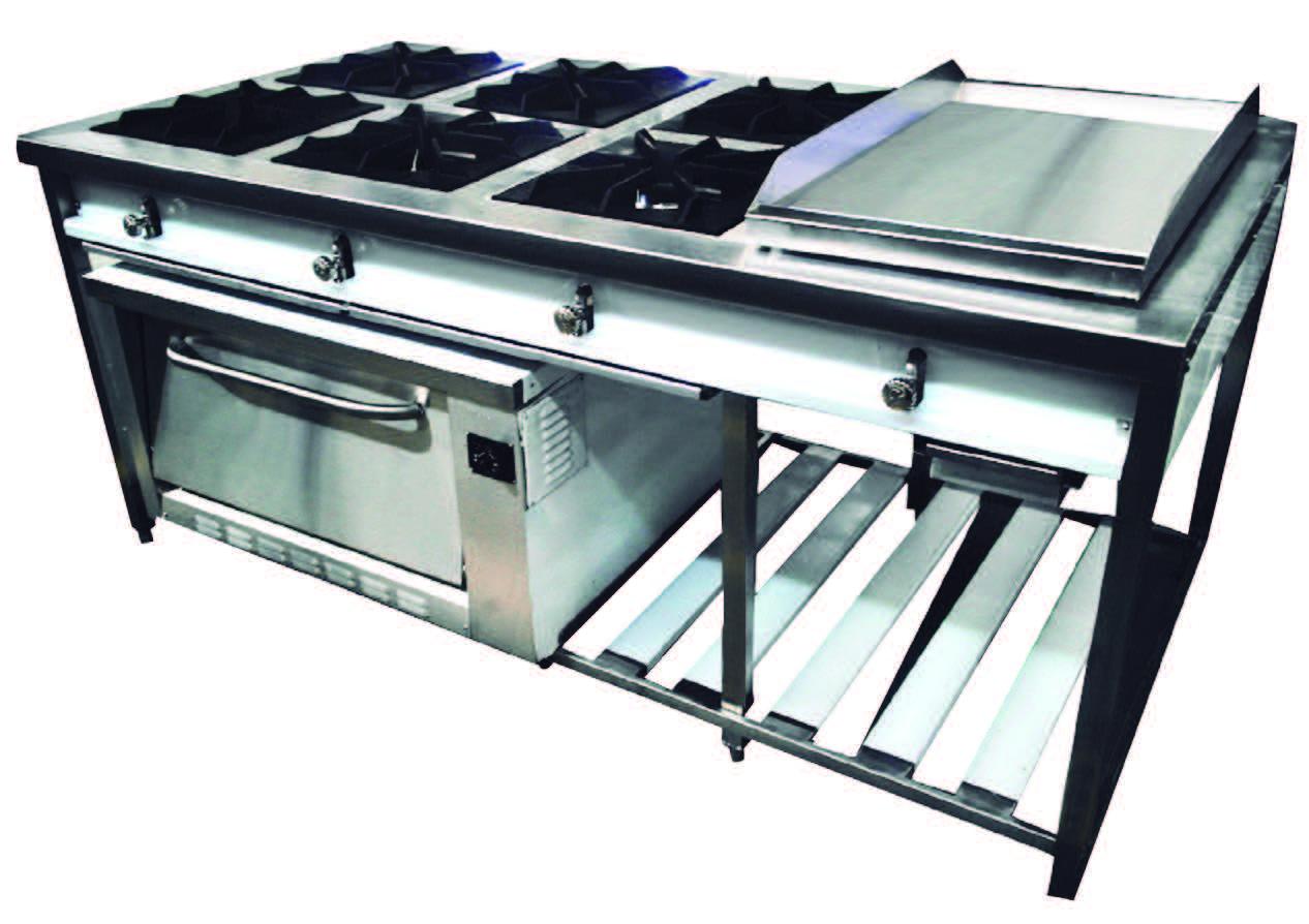 Cocina isla a gas frionox con horno y plancha ci6 ph for Cocinas y equipos